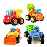 EastSun Early Education 1 Year Olds Baby Toy Push and Go Friction Powered Car Toys Sets of 4 Tractor, Bulldozer, Mixer Truck and Dumper for Children & Kids Boys and Girls