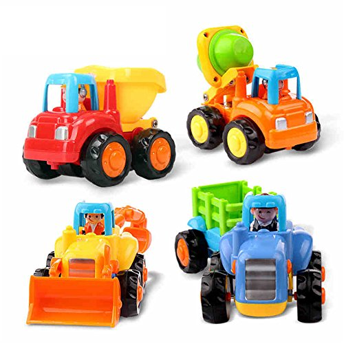 EastSun Early Education 1 Year Olds Baby Toy Push and Go Friction Powered Car Toys Sets of 4 Tractor, Bulldozer, Mixer Truck and Dumper for Children & Kids Boys and Girls Go Go Girl