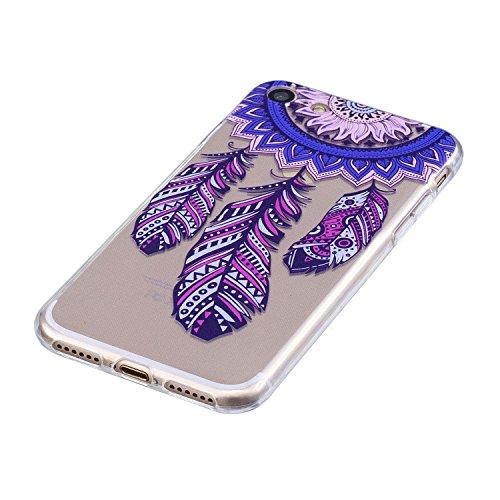 EUWLY Cover per iPhone 7/iPhone 8 (4.7),Bello Dipinto Immagine Disegno Silicone Custodia per iPhone 7/iPhone 8 (4.7),Shock-Absorption Bumper e Anti-Scratch Protettiva TPU Soft Silicone Cover [Rotazi Campanula Piuma Blu