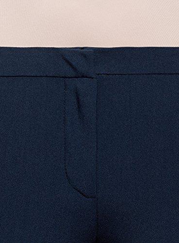 oodji Ultra Donna Pantaloni Stretti con Risvoltini e Zip Decorative Blu (7900N)