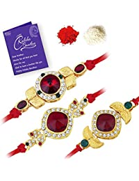 Sukkhi Royal Gold Plated Red Rakhi Combo (Set of 3 Rakhis)with Roli Chawal and Raksha Bandhan Greeting Card For Men