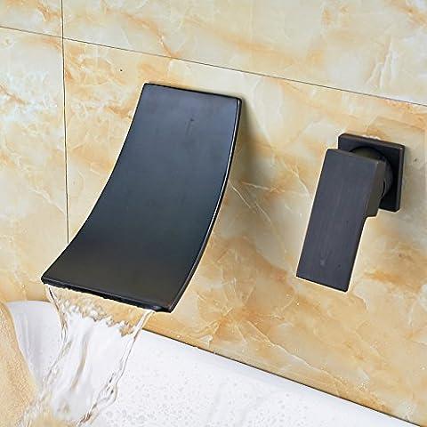 Bronze huilé support mural salle de bain évier/baignoire robinet mitigeur en laiton Soild Bec Cascade Robinet