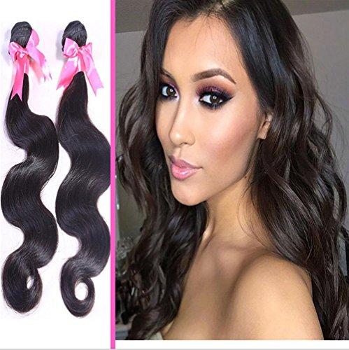Bundles Haar Indisches (XYLUCKY Haarverlängerungen Superlove indische Wave 3 Bündel Mix Zoll Echthaar Bundles 7A unbearbeitet indisches Haar natürliche Körperfarbe , 18 20 22)