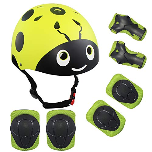 LANOVAGEAR Kids Protective Gear Set,7Pcs Sport Safety Equipment Adjustable Child Helmet Knee Elbow Pads Wrist Guards for Skating Skateboard and Other Sports Outdoor Activities (S, YELLOW-GREEN)