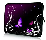 Luxburg® Design Laptoptasche Notebooktasche Tablet PC eBook Reader Tasche bis 8,1 Zoll, Motiv: Schmetterlinge lila