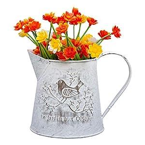 Metall Blumentopf - 13cm Landhaus Stil Blumenvase - Shabby Chic Vintage Vogel Dekorative Pflanzentopf mit Henkel - Französisch Stil Mini-Metall Pitcher für Hochzeit, Wohnaccessoire, Garten Deko
