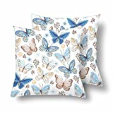 Lepilo Flying Butterfly Blue Yellow Brown Color White Throw Pillow Covers 18x18 Set of 2, Pillow Cushion Cases Pillowcase for Home Couch Sofa Bedding Decorative