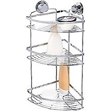 tatkraft gunter dusche eckregal 3 ablagen saugnapf rostfrei chrom ohne bohren 305x22x55 cm - Eckregal Dusche Glas