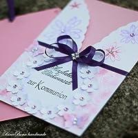 A5 Glückwunschkarte Glückwunsch Grußkarte Kommunion rosa Mädchen Handarbeit binnbonn