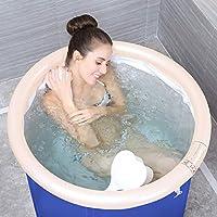 Pumpink Tina de baño Adulto Tome un baño Doble Cuenca de baño Barril de barril Cubo Piscina portátil Bañera inflada Engrosamiento Gran asiento de plástico Baños Bañeras ( tamaño : 65*65cm )