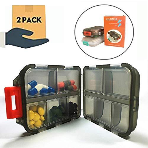 Wasserdicht Pillendose klein tragbar Pillenbox für Reise und täglichen Gebrauch,Tablettendose mit 10 Fächern, Tablettenbox morgens mittags abends (Pack von 2)-in weiß/schwarz