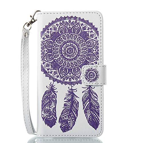 Bedddouuk iPhone 6S Plus Leder Hülle,Retro Traumfänger Feder Muster Flip Leder Wallet Tasche Handyhülle im Bookstyle mit Standfunktion Kartenfach Schutzhülle für iPhone 6 Plus,Weiß-Lila