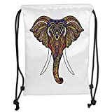 LULUZXOA Gym Bag Printed Drawstring Sack Backpacks Bags,Elephant Mandala,Elephant Head with Colorful Hand Drawn Ornaments African Tribal Motifs,T
