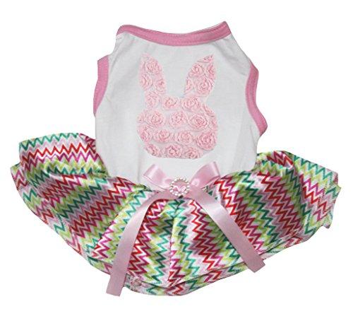 petitebelle Puppy Kleidung Hund Kleid Ostern Floral Bunny weiß Shirt Chevron Tutu (Florale Diagramme)