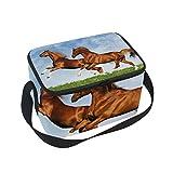 Coosun due cavalli Frolic on the Plain lunch box bag Cooler riutilizzabile borsa con tracolla regolabile per donne uomini