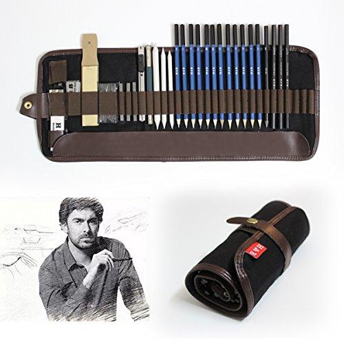 Tinpa 33 Stück Professionelle Skizze und Zeichnung Bleistift Kit Graphite & Charcoal Bleistifte, Radiergummi, Anspitzer, Stick, Kunst-Zeichnung Zubehör für Künstler, Anfänger, Schüler.