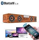 20 Watt Drahtlose Bluetooth v5.0 Soundbar, TWS Leistungsstarke Stereo Holz Lautsprecher Musik Subwoofer Computer TF FM Radio Für Heim-PC