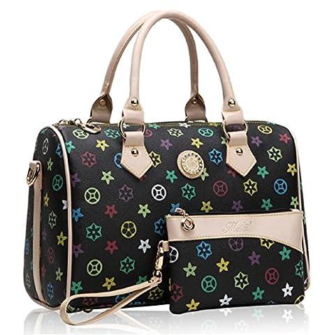 GetThatBag® Womens Crystal Monogram Print Shoulder Bag Barrel Handbag - Black