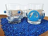 Teelichthalter Set 3-teilig | schöne Dekoration im maritimen Look | Teelichtgläser inkl. Teelichtern | Kerzenständer | Kerzenhalter | Glas | Meer | Deko | Handarbeit - 5