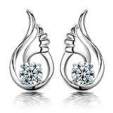 fablcrew Stilvolle Silber Ohrringe SHINING Engel Flügel Ohrstecker für Frauen Schmuck Geschenke, Silber, weiß, 13 * 7 * 3 mm