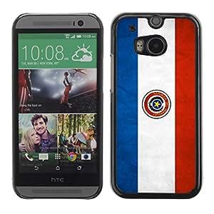 Rubber Gehäuse Hülle Schutz Case Cover Zubehör BY RAYDREAMMM - HTC One M8 - Paraguay Grunge Flag