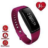 TechCode Fitness Tracker, Smart Fitness Armband mit Weiblichen physiologischen Erinnerung Uhren Blutdruck Herzfrequenzmesser Wasserdicht Smart Armband für Android IOS (Lila)