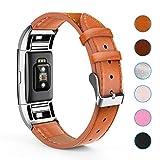 Creyer Fitbit Charge 2 Leder Armband, Kunstleder Armbänder Wrist Strap Uhrarmband Unisex Ersatzband mit Edelstahlschließe für Fitbit Charge 2 - Hellbraun
