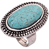 Yazilind Rimous Oval Turquoise Tibetan Silver Striking Simplicity Adjustable Ring