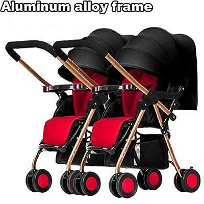Silla gemelar para gemelos y hermanos de 0 meses hasta 15 kg, con barrera de seguridad, Silla de paseo gemelar plegable, carrito gemelos doble, silla Carrito gemelar, ligera y compacta con Barrera