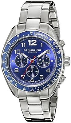 Stuhrling Original Monaco Concorso Dragster - Reloj de cuarzo, para hombre, con correa de acero inoxidable, plateado de Stuhrling Original