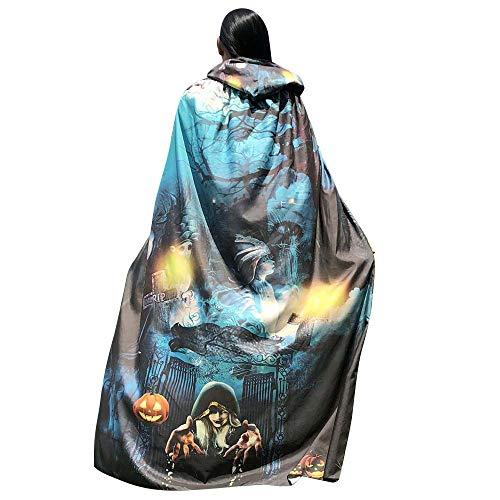 GOKOMO Halloween 140 * 100 bedruckter Kapuzenmantel Ha Qing - Blauer Baum Frosch Kostüm