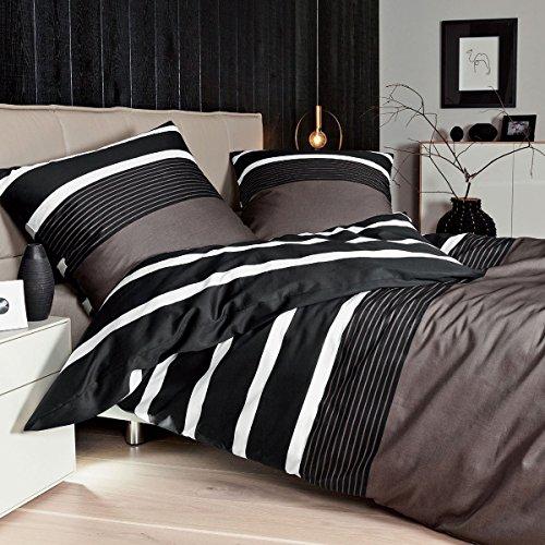 Janine Feinbiber-Bettwäsche 135 x 200 cm + 80 x 80 cm nougat-schwarz