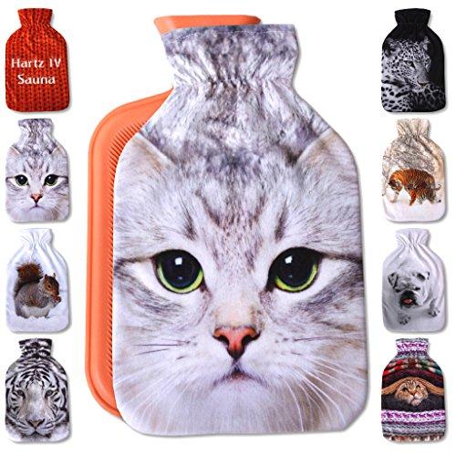 Wärmflaschenbezug 2L, mit und ohne Wärmflasche 2 Liter, Auswahl: Katze weiß, ohne Wärmflasche