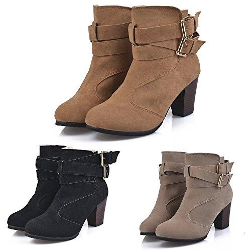 Femmes Chaussures,Sonnena Bottes Femme Printemps Automne Hiver/Bottines Talon Courtes Cuir Fourrées/Boots Chaussures Classiques Chaud Impermeables Talons Hauts Boucle de Ceinture Grande Taille 35-43