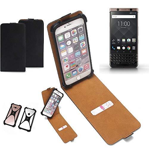 K-S-Trade Flipstyle Hülle BlackBerry KEYone Bronze Edition Handyhülle Schutzhülle Tasche Handytasche Case Schutz Hülle + integrierter Bumper Kameraschutz, schwarz (1x)
