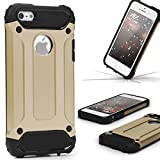 Urcover Coque Armor Protection Steel Series Hybrid | Apple iPhone Se / 5 / 5s | Doree...