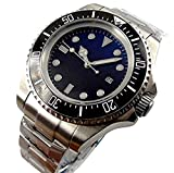 Parnis, orologio con quadrante blu scuro e nero da 47mm, dweller automatico, orologio meccanico manuale con lunetta militare in ceramica