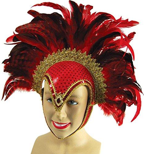 Erwachsene Kostüm Party Showgirl Burlesque Karneval Feder Helm UK Gr. Einheitsgröße,  - Red Jewel/Plume (Erwachsene Burlesque Kostüm Showgirl)