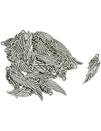 Anbau 30 Pieces Tibetan Silver Angel Wing Rose Flower Charm Pendant Jewelry Making