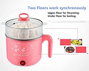 Arking Multifunctions Portable Electric Pot/Mini Cooker for Travel/Hostel (Green, Pink, Yellow, Blue, q2)