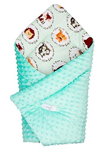 Babydecke zum Einwickeln Baby Einschlagdecke/Babyhörnchen 100% Baumwolle und Minky 80x80cm (Freunde / Minky Türkis)