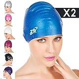 Badekappe, ZIONOR Manatee C3 Premium Silikon Badekappen für Erwachsene Männer Frauen Junior Kinder Jungen Mädchen Schwimmen Hut - Wasserdicht für Kurz Mittel Langes Haar, flexible bequeme Weiche (2 Stück)
