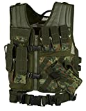 Taktische Einsatzweste Paintball Woodland Softair Outdoor inkl. Holster Flecktarn OneSize