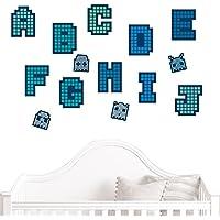 JUJU & COMPAGNIE JUJU & compañía-Pegatinas de pared infantil-Kit de decoración para pared, diseño de abecedario JUJUBOX píxeles en folie-tamaño, 50 x 90 cm