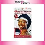 Donna Collection Donna Premium Collection 2in1 Satin Braid Bonnet & Adjustable Bonnet - Black Color By Donna Collection