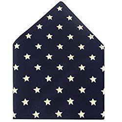 Honeysuck Cute Soft Pure Cotton Baby Bibs with Button Closure (Dark Blue and Five Stars)