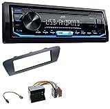 caraudio24 JVC KD-X151 1DIN USB Aux MP3 Autoradio für Renault Scenic (ab 12) Grau