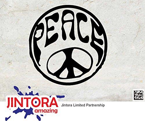 JINTORA Aufkleber für Auto/Autoaufkleber- Hippie Peace - 88x90mm - JDM/Die cut - Bus - Fenster - Heckscheibe - Laptop - LKW - Tuning - schwarz