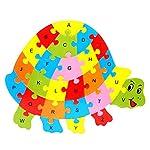 Dosige Kids Baby Wooden Animal Puzzle Alphabet Jigsaw Childrens Educational Toys Age 1-5 Years -Tortoise Shape