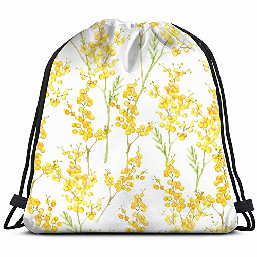 fjfjfdjk Watercolor Hand Drawn Spring Flower Nature Drawstring Backpack Gym Sack Lightweight Bag Water Resistant Gym Backpack for Women&Men for Sports,Travelling,Hiking,Camping,Shopping Yoga - Mimosa Branch